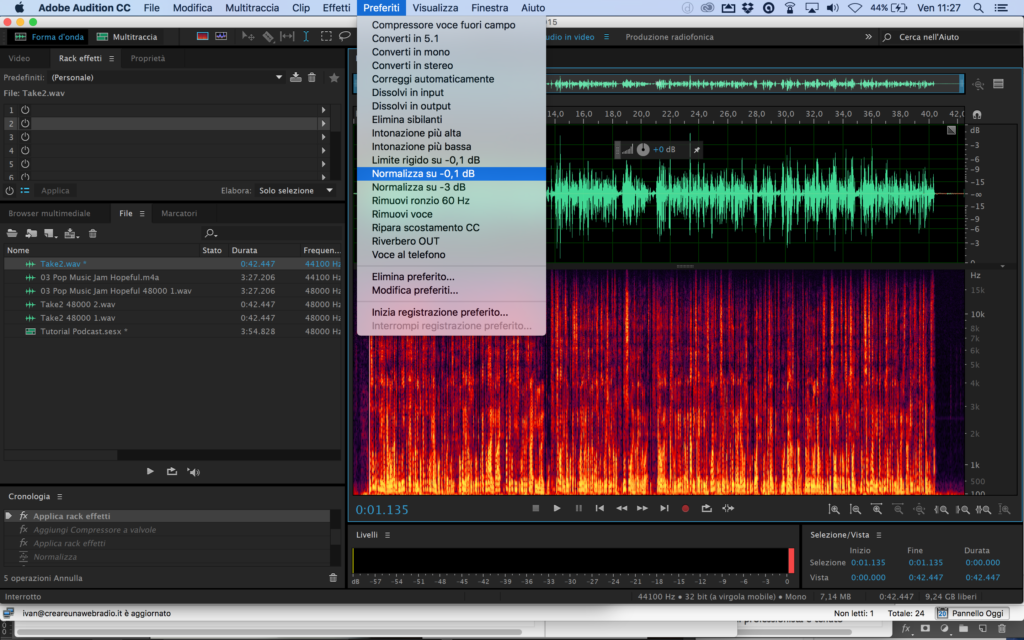 Adobe Audition Normalizza