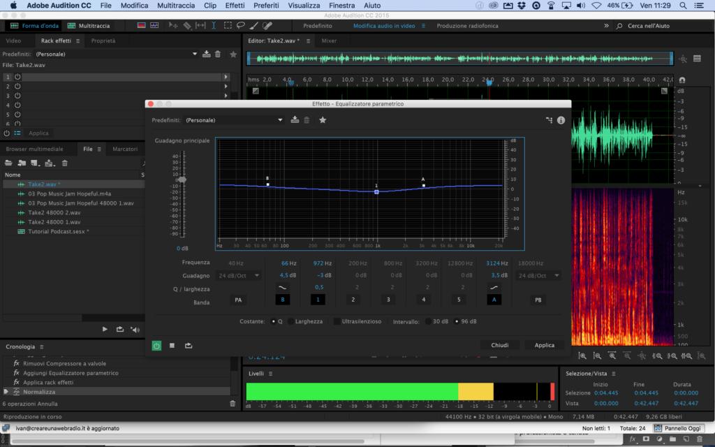 Equalizzatore di Adobe Audition